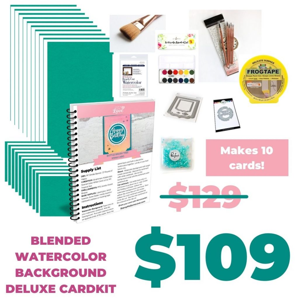 Blended Watercolor Background with brushes Card Kit kncok out price